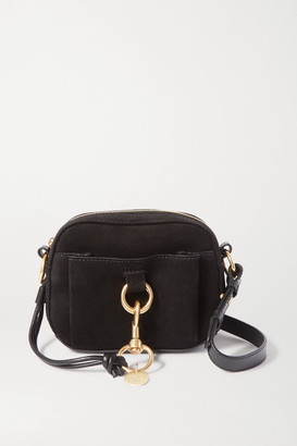 See by Chloe Tony Suede And Textured-leather Shoulder Bag - Black