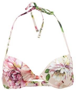 Dolce & Gabbana Floral-print Underwired Halterneck Bikini Top - Pink Print