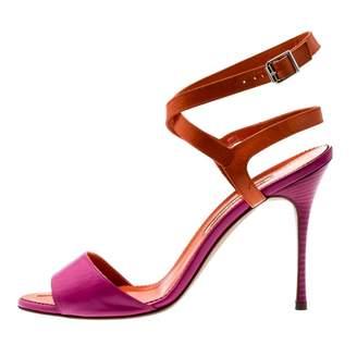 Manolo Blahnik Orange Leather Sandals