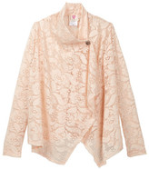Hip Buttoned Lace Cardigan (Big Girls)