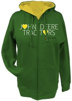 John Deere Tractors Hearts Ladies Zippered Hoodie - Green