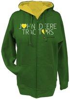 John Deere Tractors Hearts Ladies Zippered Hoodie