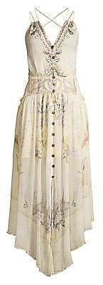 Camilla Women's Mother Floral Silk Button-Front Handkerchief Maxi Dress