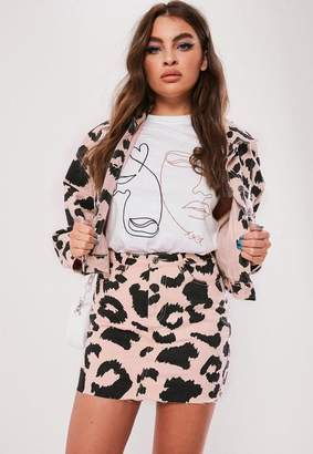 Missguided Pink Leopard Print Co Ord Denim Mini Skirt