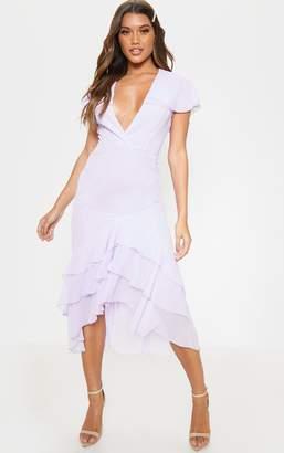 PrettyLittleThing Lilac Chiffon Plunge Ruffle Detail Skater Dress