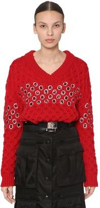 Prada Embellished Wool Knit Sweater