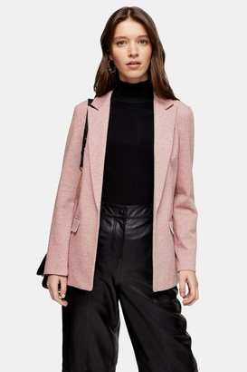 Topshop Pink Jersey Double Breasted Blazer