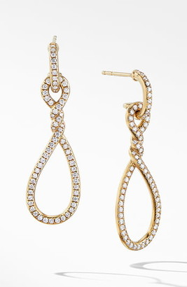 David Yurman Continuance Full Pave Small Drop Earrings in 18K Yellow Gold