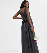 TFNC Maternity Maternity Bridesmaid maxi dress with satin bow back in gray