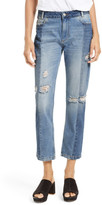 Free People The Patchwork High Waist Crop Jean