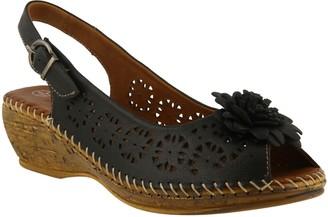 Spring Step Leather Peep-toe Wedge Sandals - Belford