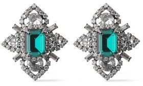 Elizabeth Cole Gunmetal-tone Swarovski Crystal Earrings