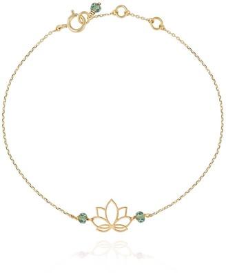Perle de Lune Lotus Bracelet Green Sapphire - 18k Gold