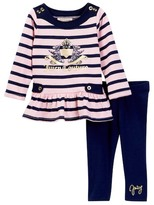Juicy Couture Striped Scottie Dog Logo Tunic & Legging Set (Toddler Girls)