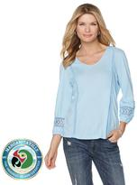 Margaritaville Lace Inset 3/4-Sleeve Top