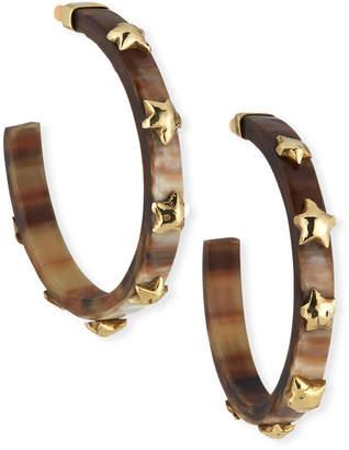 Ashley Pittman Hofu Studded Hoop Earrings in Dark Horn