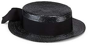 Saint Laurent Women's Straw Boater Hat with Ribbon