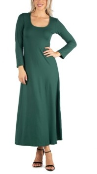 24seven Comfort Apparel Women's Long Sleeve T-Shirt Maxi Dress