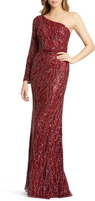 Mac Duggal Embellished One-Sleeve Gown