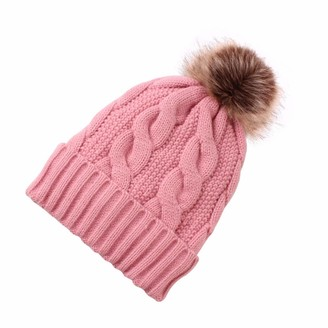 YELITE Beanie Hat for Ladies Winter Bobble Hat Double Layer Fleece Line Knitted Hat with Detachable Faux Fur Pom Pom Hat (Pink)