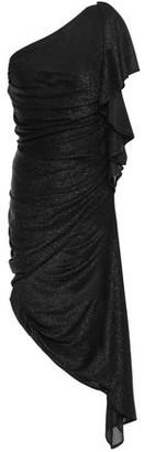 Just Cavalli One-shoulder Draped Metallic Jersey Dress