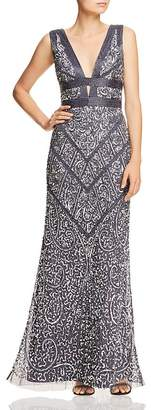 Aidan Mattox Embellished Plunging Gown