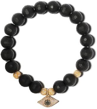 Loree Rodkin 14kt yellow gold Evil Eye diamond and onyx beaded bracelet