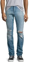 7 For All Mankind Paxtyn Distressed Skinny Jeans, Medium Blue
