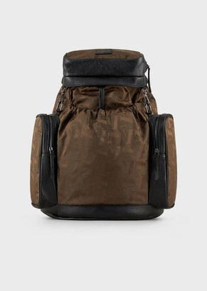Emporio Armani Multi-Pocketed Nylon Logo Backpack With Leather Inserts