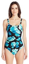 Calvin Klein Women's Orchid Shirred Maillot One Piece Swimsuit