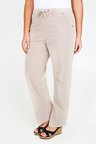 Yours Clothing Stone Full Length Cool Cotton Trousers