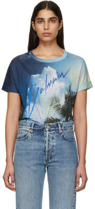 Balmain Blue Linen Graphic Signature Logo T-Shirt