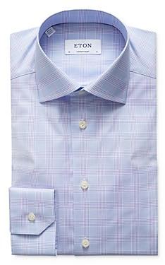 Eton Plaid Natural Stretch Contemporary Fit Dress Shirt