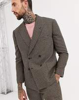 Asos Design ASOS DESIGN boxy double breasted suit jacket in green and pink houndstooth