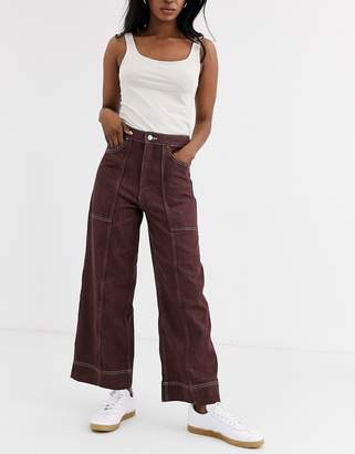 Weekday Avon jeans in yarn dyed mahogany-Multi