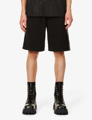 Burberry Logo-stripe straight cotton-jersey shorts