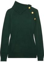 Pierre Balmain Button-detailed Stretch-knit Sweater