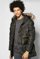 Boohoo Longline Camo Print Parka With Fur Hood