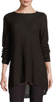 Eileen Fisher Textured Organic Linen Bateau-Neck Tunic