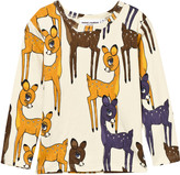 Mini Rodini Brown Deer Print Long Sleeve Tee