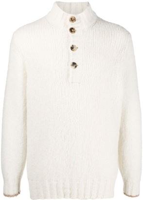 Brunello Cucinelli High-Neck Buttoned Sweater