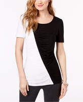 INC International Concepts Petite Ruched Colorblocked Top, Created for Macy's