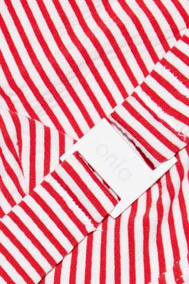 Onia Louise Ruffle-trimmed Striped Underwired Bikini Top