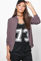 Boohoo Tall Paige Ribbed Jersey Zip Bomber