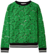 Valentino Jersey-trimmed Corded Cotton-blend Lace Sweatshirt - Green