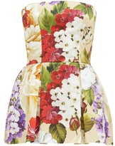 Dolce & Gabbana Peony And Violet-print Cotton Skort Playsuit - Womens - Beige Print