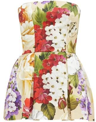 Dolce & Gabbana Peony And Violet-print Cotton Skort Playsuit - Beige Print