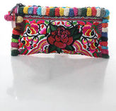 Joelle Gagnard Multi-Color Canvas Pompom Trimmed Embroidered Sequin Rose Clutch New $280