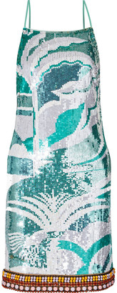 Emilio Pucci Bead-embellished Sequined Tulle Mini Dress