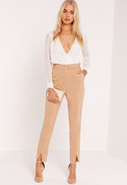 Missguided Split Hem D-Ring Belted Cigarette Trousers Nude